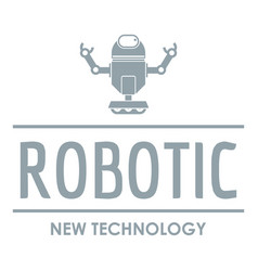 robotic technology logo simple gray style vector image