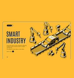 robots hands assemble car on conveyor belt process vector image