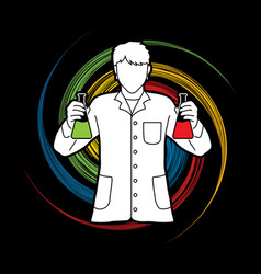 scientist with flask chemical vector image