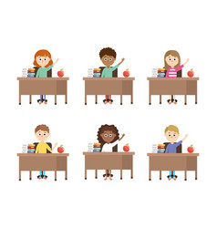 Set boys and girls students in the desk with books vector