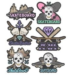set colorful skateboard emblems vector image