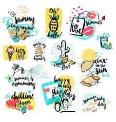 set hand drawn watercolors signs summer vector image