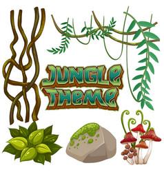 Set of jungle element vector