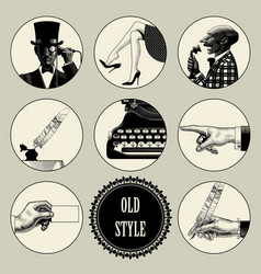 Set of round images in vintage engraving style vector