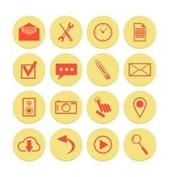 set of yellow icons for web and mobile vector image