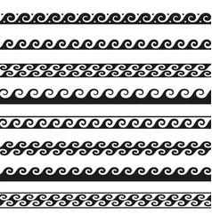 set seamless wave borders design elements vector image