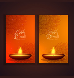 Shubh diwali vertical banners set vector