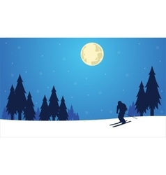 Silhouette of people skier winter Christmas vector