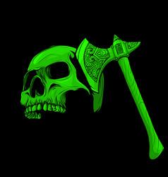 Skull head murdered ax vector