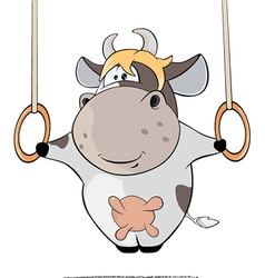 small cow performing Iron Cross Cartoon vector image
