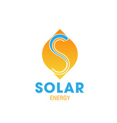 Solar energy icon for eco sun power business card vector