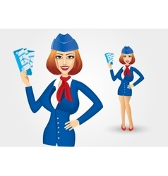 stewardess holding tickets vector image