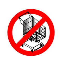 Stop shopping cart Prohibited shopping trolley vector image