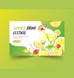 Summer drink website template design for cocktail vector