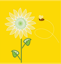 sunflower cartoon with flying bee on yellow vector image