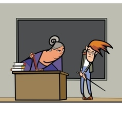 The teacher and schoolboy in school vector image
