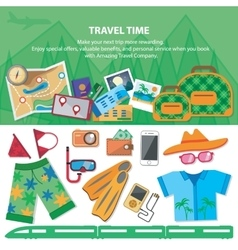 Travel time Flat style travel blog icon set vector