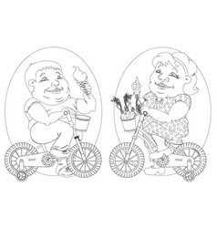 two fat people on bicycles black and white image vector image