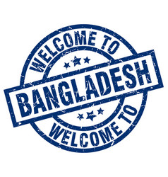 Welcome to bangladesh blue stamp vector