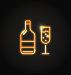 wine bottle and glass glowing neon icon vector image
