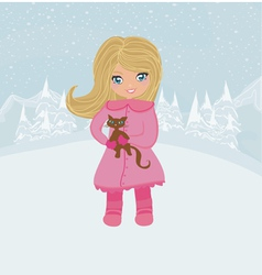 Winter girl and her cat vector