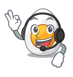 With headphone freshly boiled egg isolated on vector