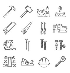 Woodwork carpentry tools icons vector