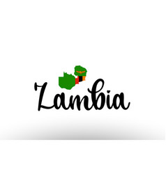 Zambia country big text with flag inside map vector