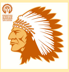 american native chief head vector image vector image