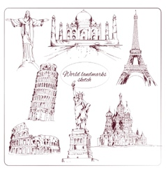 World landmark sketch vector image vector image
