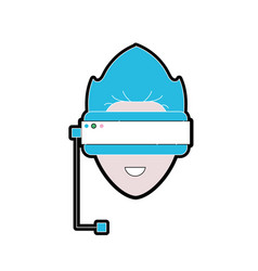 boy face with 3d glasses to dimension experience vector image