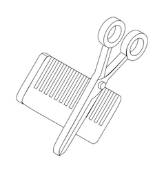 Comb and scissors icon isometric 3d style vector image