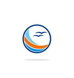 round beach seagul ocean logo vector image