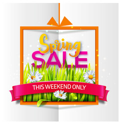 spring sale orange frame with red ribbon vector image