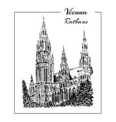 vienna rathaus hand drawn sketch vector image vector image