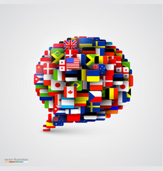world flags in form of speech bubble vector image