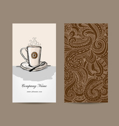 business cards design with coffee cup vector image vector image