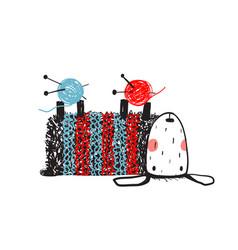 cute sheep knitting wearing sweater vector image vector image