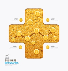 Infographic business currency money coins plus sha vector image vector image