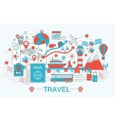 Modern Flat thin Line design Travel toutism vector image