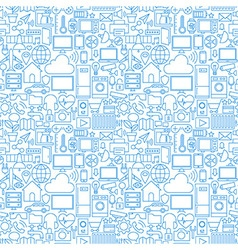 Thin line internet of things white seamless vector