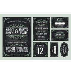 Vintage wedding invitation chalkboard design vector image