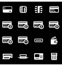 white credit card icon set vector image vector image