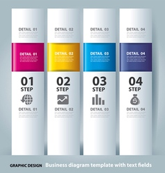 business step paper chart and numbers banner vector image vector image