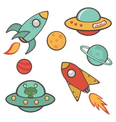 Colorful outer space stickers collection vector image