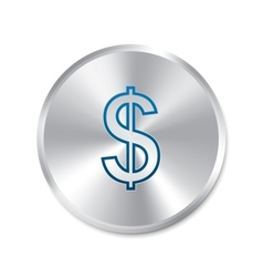 Dollar silver sign Isolated currency icon vector image