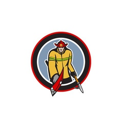 Fireman Carry Axe Hook Pike Pole Circle vector image vector image