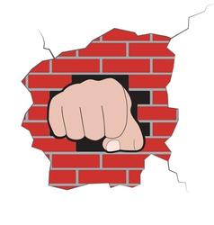 Fist burst through brick wall vector image vector image