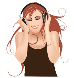 girl with headphones vector image