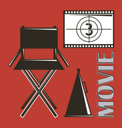 movie director chair megaphone and film strip vector image